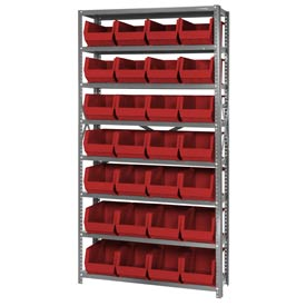 Quantum QSBU-240 Steel Shelving With 28 Giant Stacking Bins Red, 12x36x75