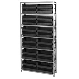 Quantum QSBU-245 Steel Shelving With 24 Giant Stacking Bins Black, 12x36x75