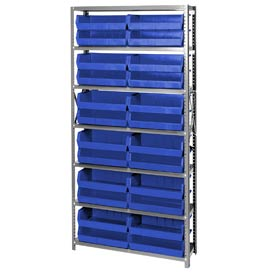 Quantum QSBU-245 Steel Shelving With 24 Giant Stacking Bins Blue, 12x36x75