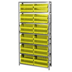 Quantum QSBU-245 Steel Shelving With 24 Giant Stacking Bins Yellow, 12x36x75