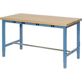 "60""W x 24""D Production Workbench with Power Apron - Maple Butcher Block Square Edge - Blue"