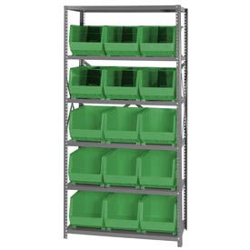 Quantum QSBU-260 Steel Shelving With 15 Giant Stacking Bins Green, 18x36x75