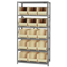 Quantum QSBU-260 Steel Shelving With 15 Giant Stacking Bins Ivory, 18x36x75