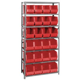 Quantum QSBU-265 Steel Shelving With 24 Giant Stacking Bins Red, 18x36x75