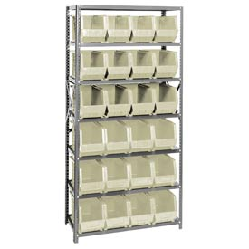 Quantum QSBU-265 Steel Shelving With 24 Giant Stacking Bins Ivory, 18x36x75