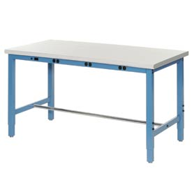 "72""W x 36""D Production Workbench with Power Apron - Plastic Laminate Safety Edge - Blue"
