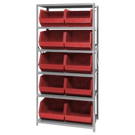 Quantum QSBU-270 Steel Shelving With 10 Giant Stacking Bins Red, 18x36x75