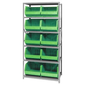 Quantum QSBU-270 Steel Shelving With 10 Giant Stacking Bins Green, 18x36x75