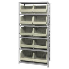 Quantum QSBU-270 Steel Shelving With 10 Giant Stacking Bins Ivory, 18x36x75