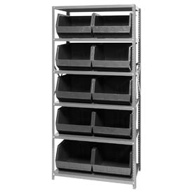 Quantum QSBU-270 Steel Shelving With 10 Giant Stacking Bins Black, 18x36x75