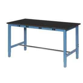 "60""W x 30""D Production Workbench with Power Apron - Phenolic Resin Safety Edge - Blue"