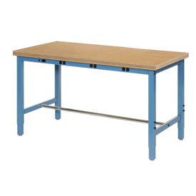 "72""W x 30""D Production Workbench with Power Apron - Shop Top Safety Edge - Blue"