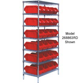 Quantum W7-12-30 Chrome Wire Shelving With 30 QuickPick Double Open Bins Red, 18x36x74
