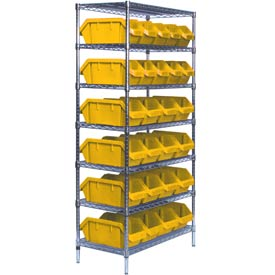 Quantum W7-12-26 Chrome Wire Shelving With 26 QuickPick Double Open Bins Yellow, 18x36x74