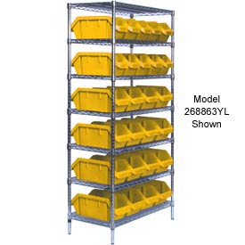Quantum W7-12-28 Chrome Wire Shelving With 28 QuickPick Double Open Bins Yellow, 18x36x74