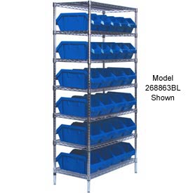 Quantum W7-18-30 Chrome Wire Shelving With 30 QuickPick Double Open Bins Blue, 18x36x74