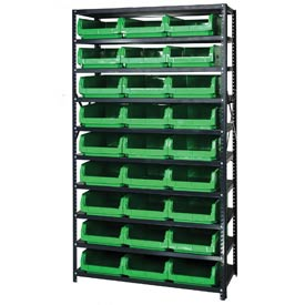 Quantum MSU-531 Steel Shelving With 27 Magnum Giant Hopper Bins Green, 18x42x75
