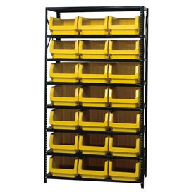 Quantum MSU-532 Steel Shelving With 21 Magnum Giant Hopper Bins Yellow, 18x42x75