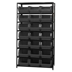 Quantum MSU-532 Steel Shelving With 21 Magnum Giant Hopper Bins Black, 18x42x75