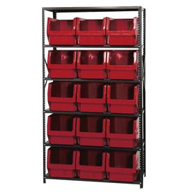 Quantum MSU-533 Steel Shelving With 15 Magnum Giant Hopper Bins Red, 18x42x75