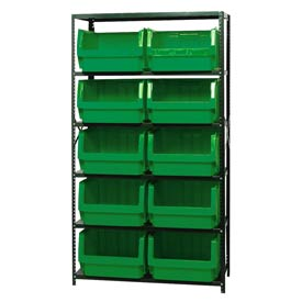 Quantum MSU-543 Steel Shelving With 10 Magnum Giant Hopper Bins Green, 18x42x75