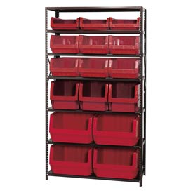 Quantum MSU-16-MIX Steel Shelving With 16 Magnum Giant Hopper Bins Red, 18x42x75