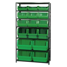 Quantum MSU-16-MIX Steel Shelving With 16 Magnum Giant Hopper Bins Green, 18x42x75