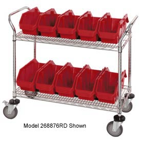 "Quantum WRC2-1836-1265 Chrome Wire Mobile Cart With 10 QuickPick Double Open Bins Red, 36""x18""x38"""