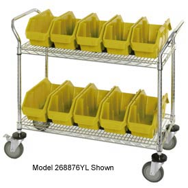 "Quantum WRC3-1836-1265 Chrome Wire Mobile Cart With 15 QuickPick Double Open Bins Yellow 36""x18""x38"""