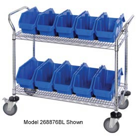 "Quantum WRC2-1836-1285 Chrome Wire Mobile Cart With 8 QuickPick Double Open Bins Blue, 36""x18""x38"""