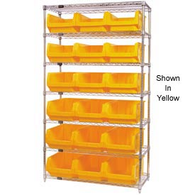Quantum WR7-532 Chrome Shelving With 18 Magnum Giant Hopper Bins Red, 18x42x74
