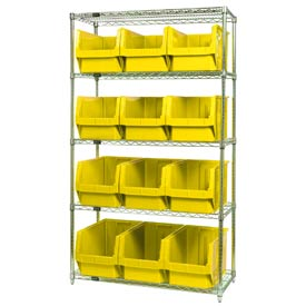 Quantum WR5-533 Chrome Shelving With 12 Magnum Giant Hopper Bins Yellow, 18x42x74
