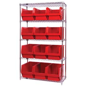 Quantum WR5-533 Chrome Shelving With 12 Magnum Giant Hopper Bins Red, 18x42x74
