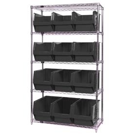 Quantum WR5-533 Chrome Shelving With 12 Magnum Giant Hopper Bins Black, 18x42x74