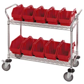 "Quantum WRC2-1836-1867 Chrome Wire Mobile Cart With 10 QuickPick Double Open Bins Red, 36""x18""x38"""