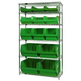 Quantum WR6-13-MIX Chrome Shelving With 13 Magnum Giant Hopper Bins Green, 18x42x74