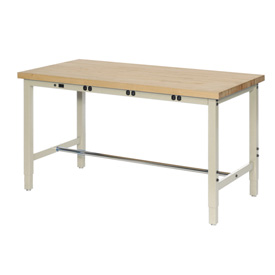 "96""W x 36""D Production Workbench with Power Apron - Maple Butcher Block Square Edge - Tan"