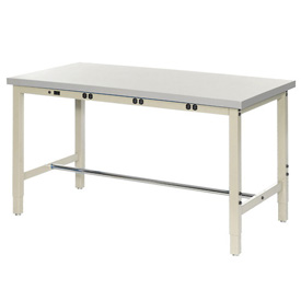 "96""W x 36""D Production Workbench with Power Apron - ESD Laminate Square Edge - Tan"