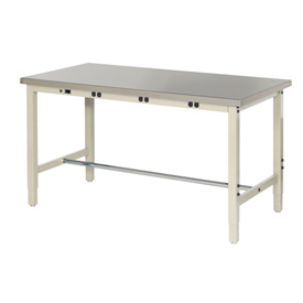 "72""W x 30""D Production Workbench with Power Apron - Stainless Steel Square Edge - Tan"