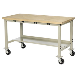 "72""W x 30""D Mobile Production Workbench with Power Apron - Maple Butcher Block Square Edge -Tan"