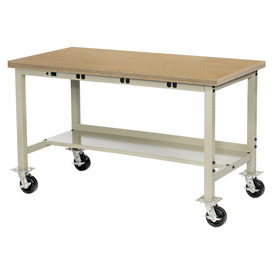 "72""W x 30""D Mobile Production Workbench with Power Apron - Shop Top Square Edge - Tan"