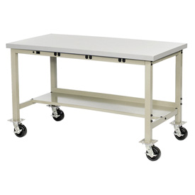 "72""W x 30""D Mobile Production Workbench with Power Apron - Stainless Steel Square Edge - Tan"