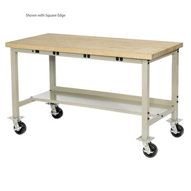 "72""W x 30""D Mobile Production Workbench with Power Apron - Maple Butcher Block Safety Edge - Tan"