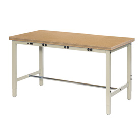 "72""W x 30""D Production Workbench with Power Apron - Shop Top Square Edge - Tan"