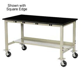 """60""""W x 30""""D Mobile Production Workbench with Power Apron - Phenolic Resin Safety Edge - Tan"""
