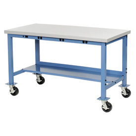"60""W x 30""D Mobile Production Workbench with Power Apron - ESD Square Edge - Blue"