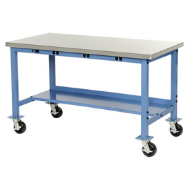 "60""W x 30""D Mobile Production Workbench with Power Apron - Stainless Steel Square Edge - Blue"