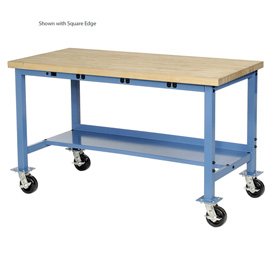 "72""W x 30""D Mobile Production Workbench with Power Apron - Maple Butcher Block Safety Edge - Blue"