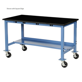 "72""W x 36""D Mobile Production Workbench with Power Apron - Phenolic Resin Safety Edge - Blue"