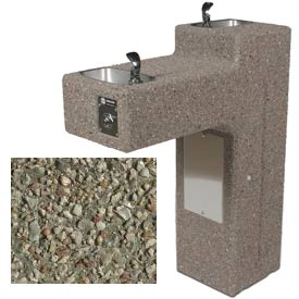 Concrete Dual Outdoor Drinking Fountain ADA Accessible - Gray Limestone